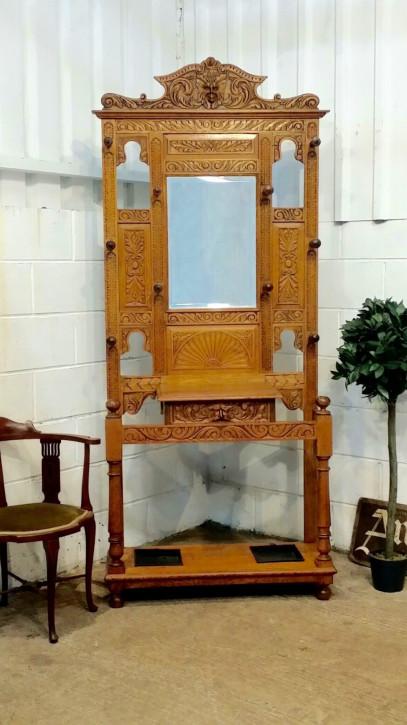 Original viktorianische Garderobe massive helle Eiche antik englisch 1880