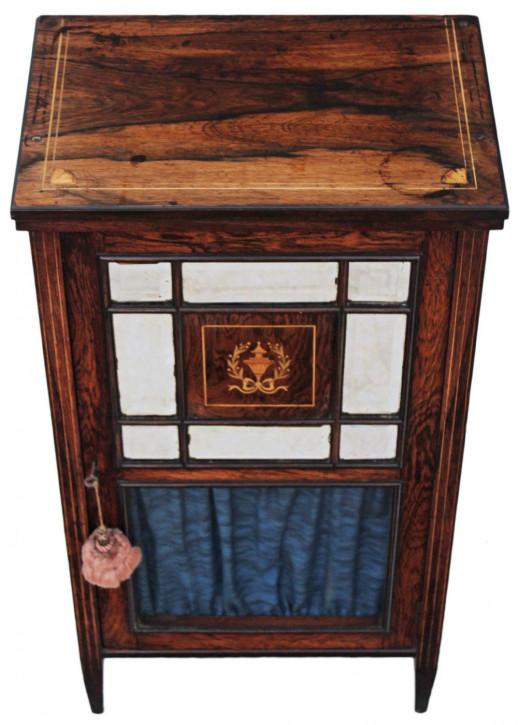 Original viktorianische Vitrine Music Cabinet Palisander massiv englisch 1850