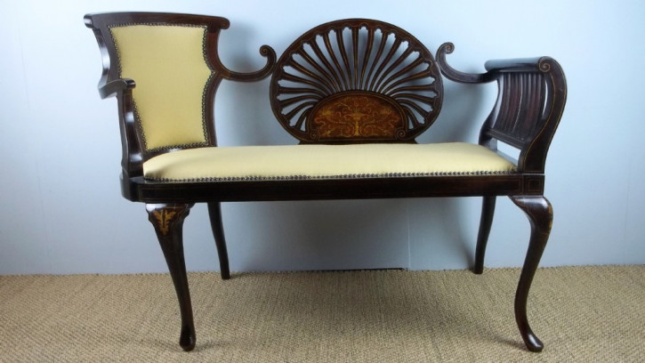 Antikes Mahagoni Salon Sofa Fenstercouch original von 1900