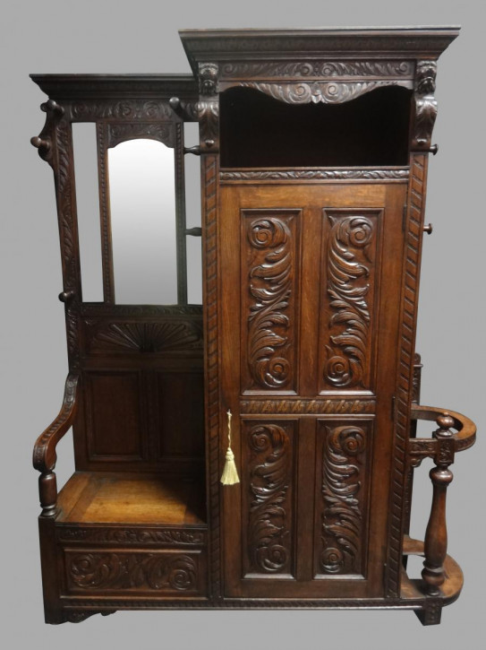 Britische antike Garderobe Massivholz Eiche englisch 1870