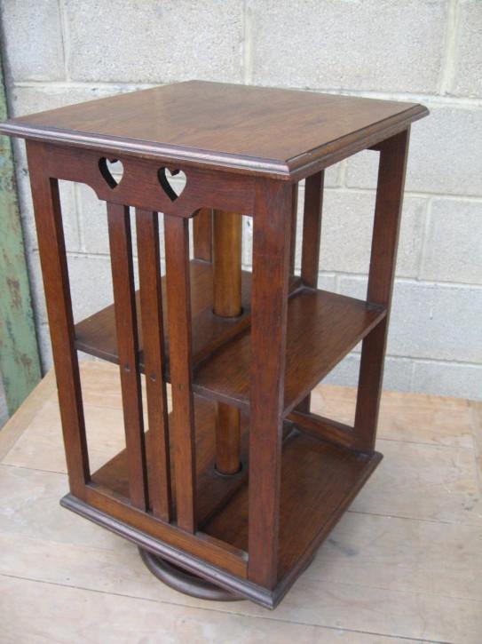 Original Englisches Antikes kleines drehbares Arts and Crafts Bücherregal Revolving Bookcase aus massivem Eichenholz ca. 1900