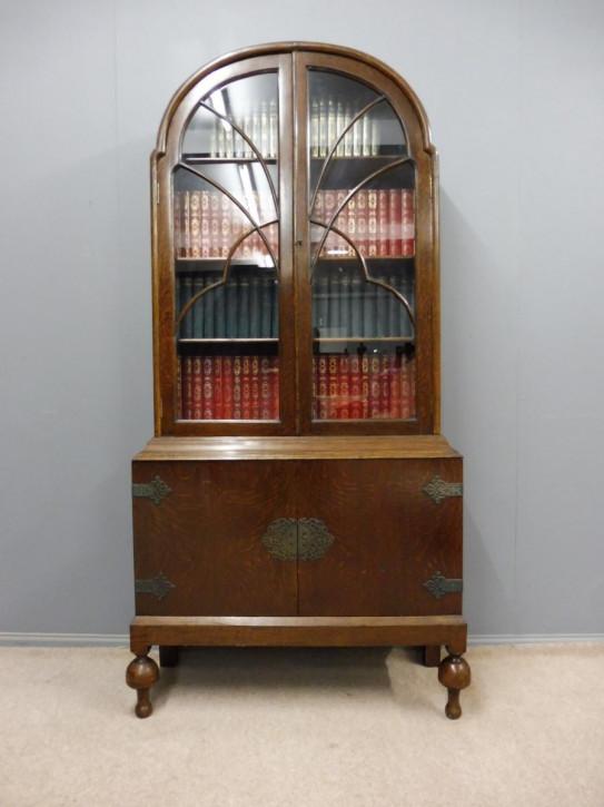 Antikes Originales Englisches Bücherregal aus massivem Eichenholz mit Kuppelform von ca. 1920