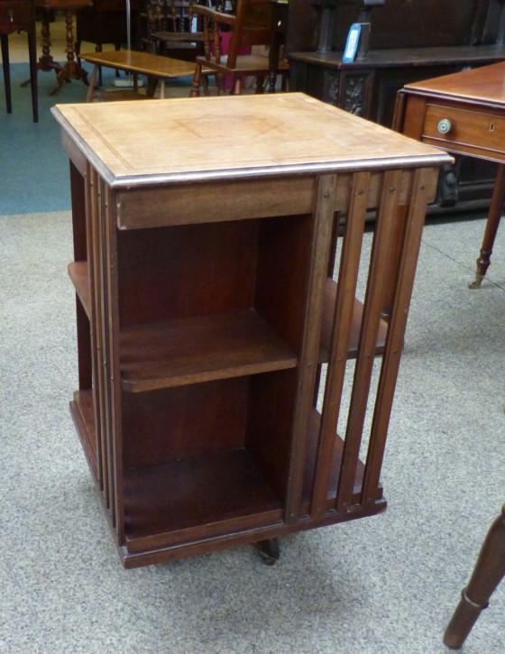 Original Englisches Antikes Edwardisches drehbares Bücherregal Revolving Bookcase aus massivem Mahagoni von ca. 1900