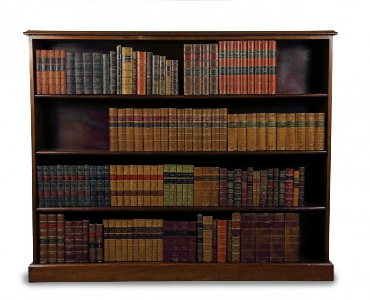 Englischer Edwardischer Großer offener Bücherschrank aus Mahagoni ca. 1900