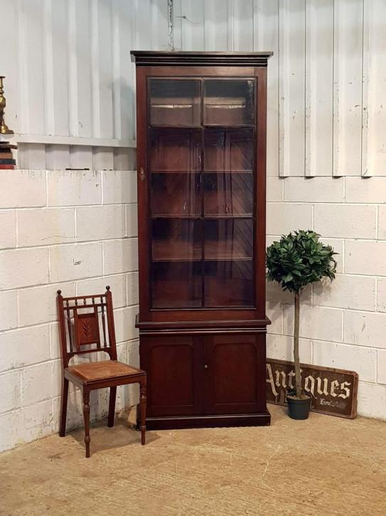 Original Englisches Antikes viktorianisches schmales Mahagoni Bücherregal von ca. 1880