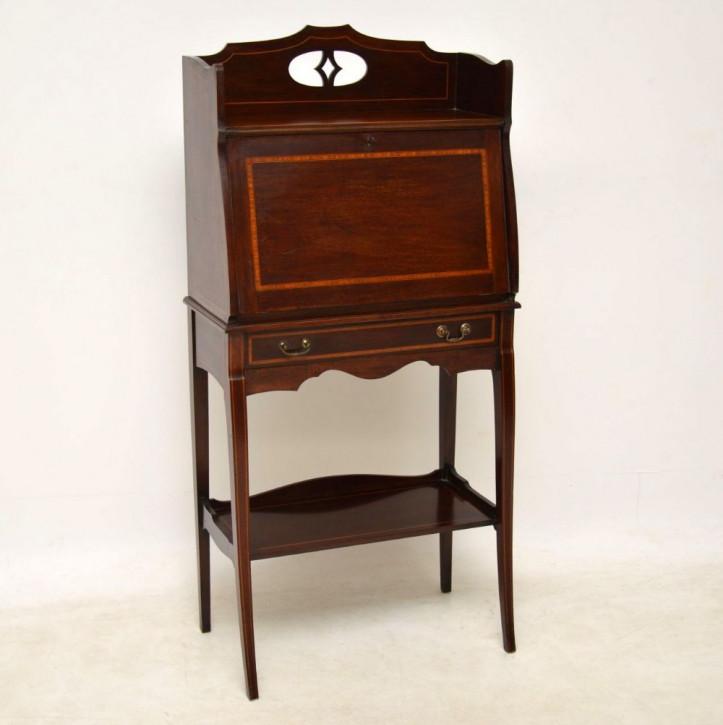 Antiker Original Englischer Edwardischer Intarsien Mahagoni Massivholz Sekretär von ca. 1910