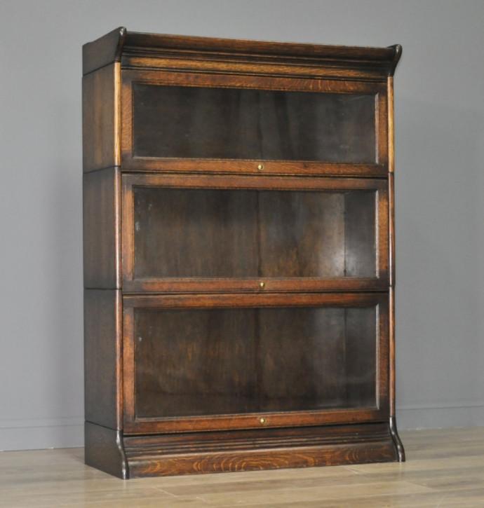 Original Englischer Antiker Attraktiver großer verglaster Bücherrschrank aus massivem Eichenholz von ca. 1920