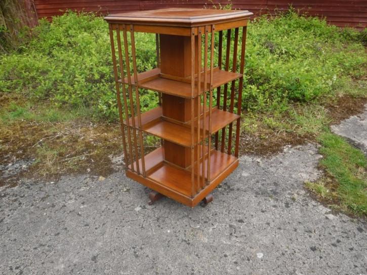 Original Englisches Antikes spät viktorianisches 4 reihiges Drehbücherregal aus massiver Eiche revolving bookcase ca. 1890