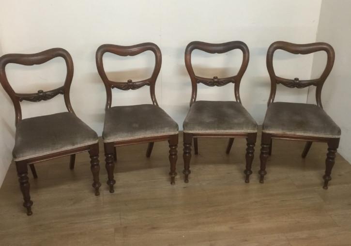Vier Original Englische Antike Massivholz Mahagoni Stühle aus dem 1840