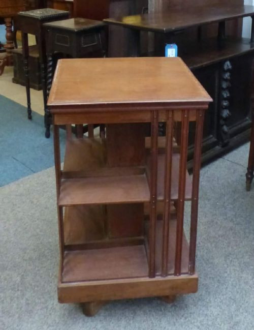 Original Englisches Antikes Edwardisches drehbares Bücherregal revolving bookcase von ca. 1900 aus massivem Mahagoni