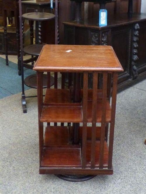 Antikes Original Englisches drehbared Bücherregal Revolving bookcase aus massivem Mahagoni von ca. 1900