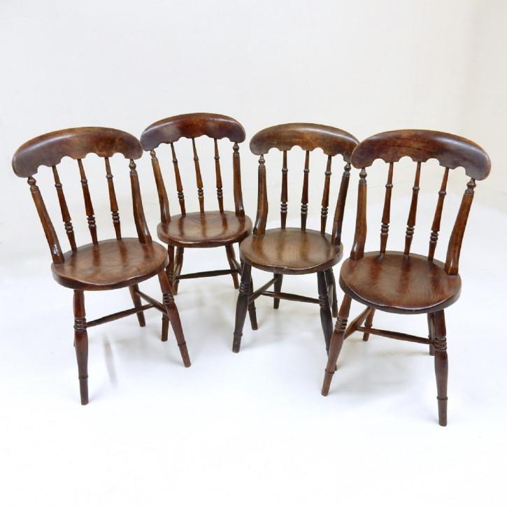 Original Englisches Antikes Set von 4 viktorianischen Windsor Stühle Küche Esszimmer aus massivem Buchenholz Landhausstil