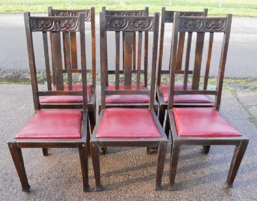 Set von sechs Englischen Antiken Jugendstil Buchen Esszimmerstühlen mit hohem Rücken von ca. 1900