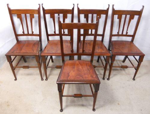 Set von fünf Antiken Englischen Jugendstil Art Nouveau Mahagoni Stühlen von ca. 1900