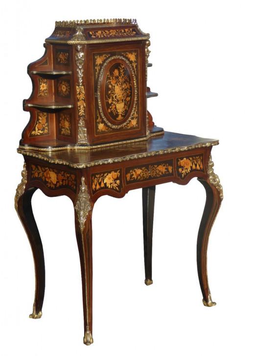 Antiker Englischer Viktorianischer Marquetry bonheur de jour Damenschreibtisch von ca. 1850
