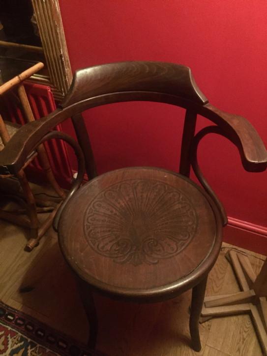Antiker Englischer Mundus J. & J. Kohn Schreibtischstuhl Stuhl aus Eiche von ca. 1890