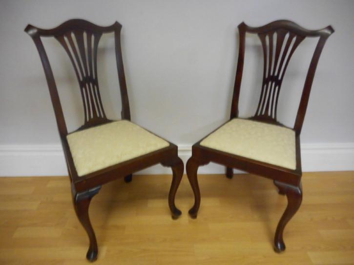 Antikes Englisches Paar Seitenstühle von ca. 1890