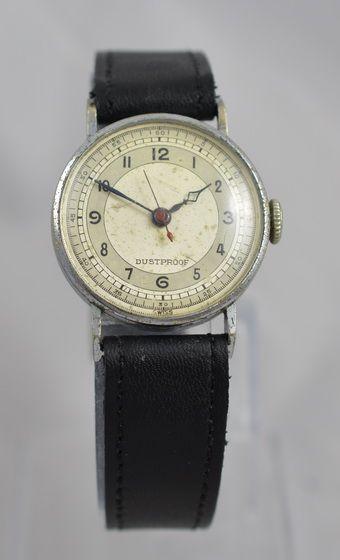 Original Englische Antike Armbanduhr Piloten Stil ca. 1950