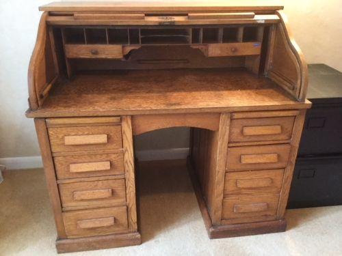 Edwardianischer Eichen Schreibtisch Jalousie original antik von ca. 1920