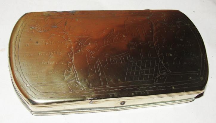 Original Antike Holländische Messing Schnupftabakdose von ca. 1780