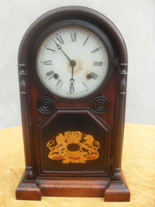 Englische Antike Palisander Kamin Uhr aus dem 19. JH
