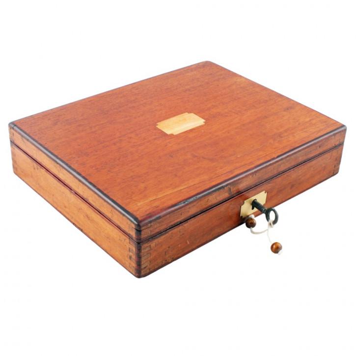 Antike Original Viktorianische Mahagoni Box für Zeicheninstrumente von ca. 1890