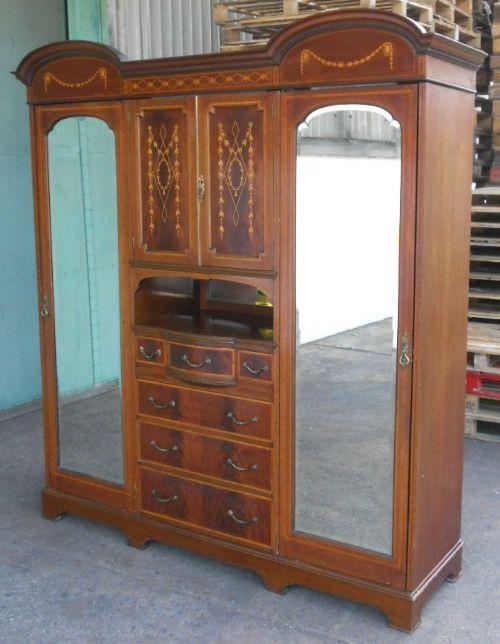 Großer edwardianischer original antiker Mahagoni Kleiderschrank englisch Maples & Co 1890