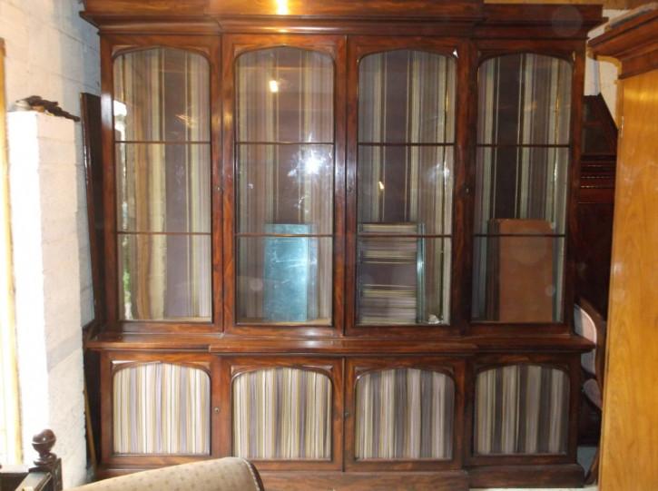 Britisches antikes Mahagoni Breakfront Bücherregal 1860