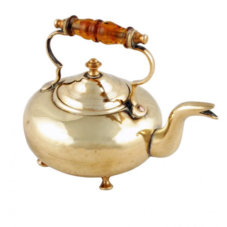 Viktorianischer Miniatur Messing Teekessel Grog Kessel original antik 1870