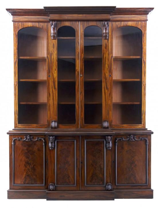 Antikes viktorianisches Englisches Bücherregal Mahagoni breakfront 1850