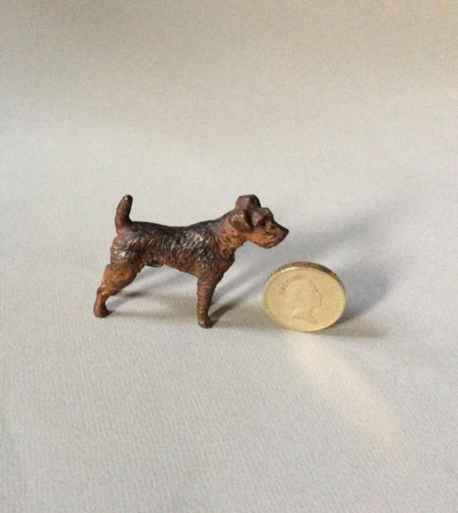 Viktorianische Antike Englische bemalte Bronze Miniatur Figur Terrier 1890