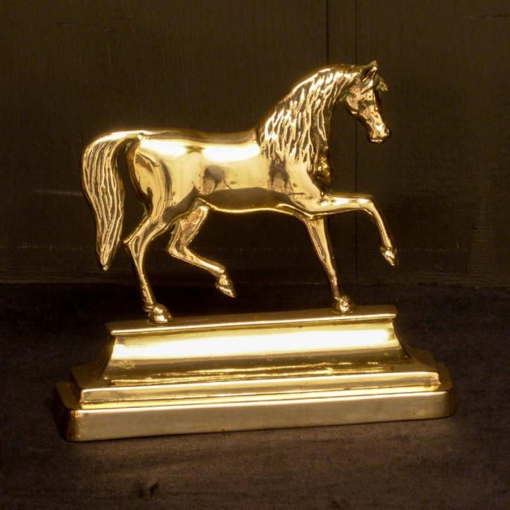Englischer antiker viktorianischer Messing Türstopper Pferd 1840