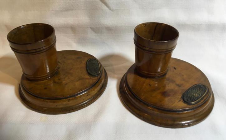 Praktisches Englisches Antikes Paar Nussbaum Zahnstocher Halter für den Tisch 1850