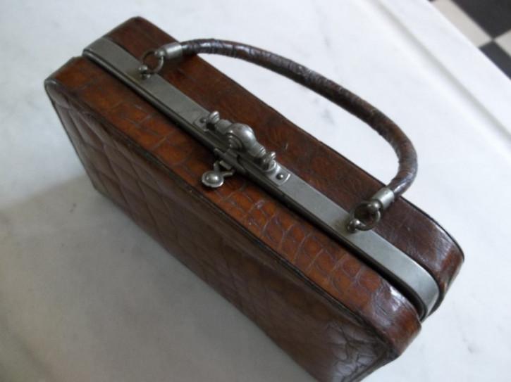 Viktorianische Englische antike Handtasche original Krokodil Haut Koffer 1891