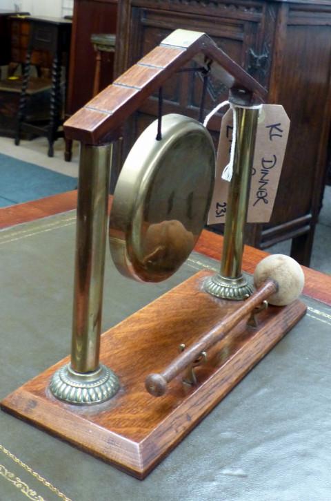 Original antiker Messing Dinner Gong Eiche englisch 1850