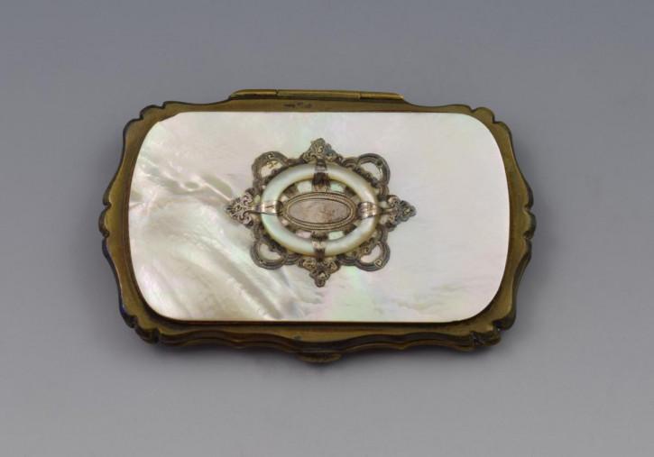 Original französischer Perlmutt Geldbeutel weiß original antik 1850