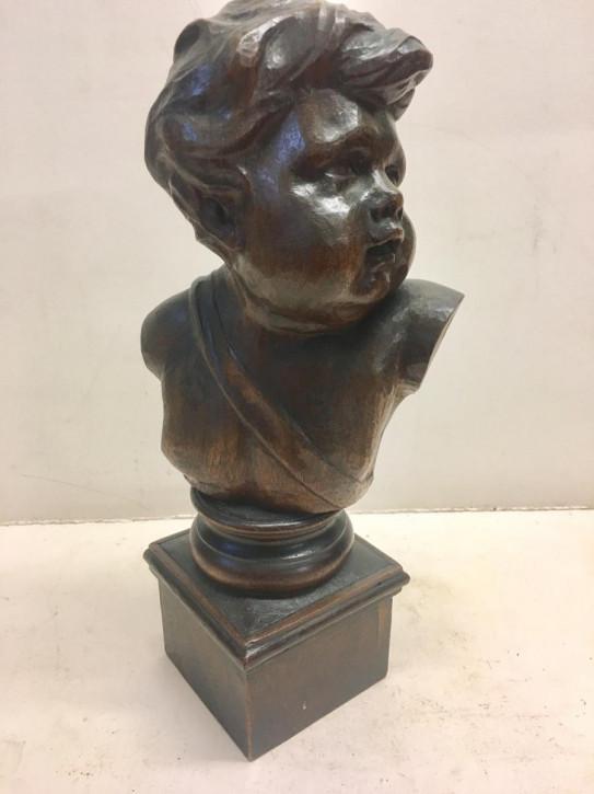 Antike Holzfigur Skulptur Cherub Holz Büste Engel 1850