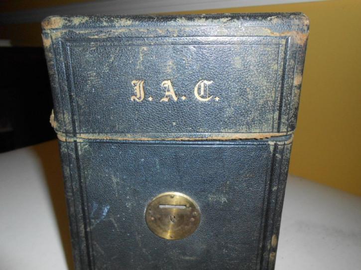 Viktorianische Englische Antike Herren Reisebox aus Leder ca. 1860