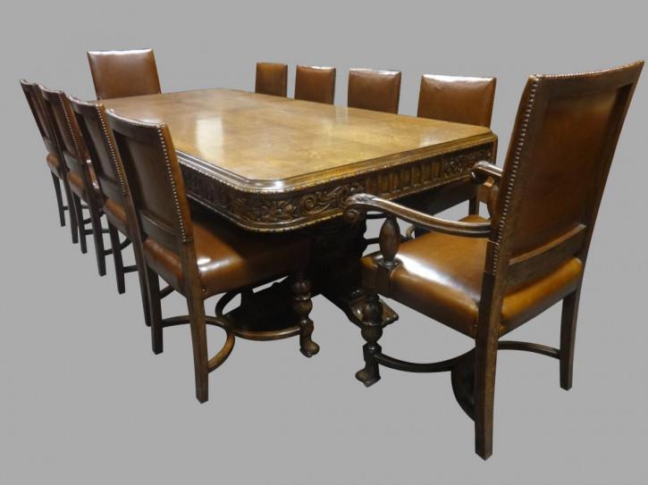 Original Antiker Englischer Eichenesstisch mit zehn passenden Esszimmerstühle ca. 1920