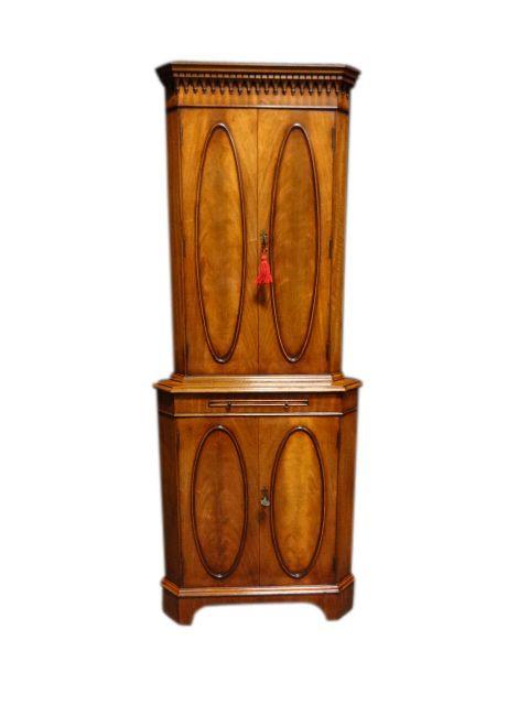 Original Antiker Englischer Mahagoni Eck Cocktailschrank ca. 1920