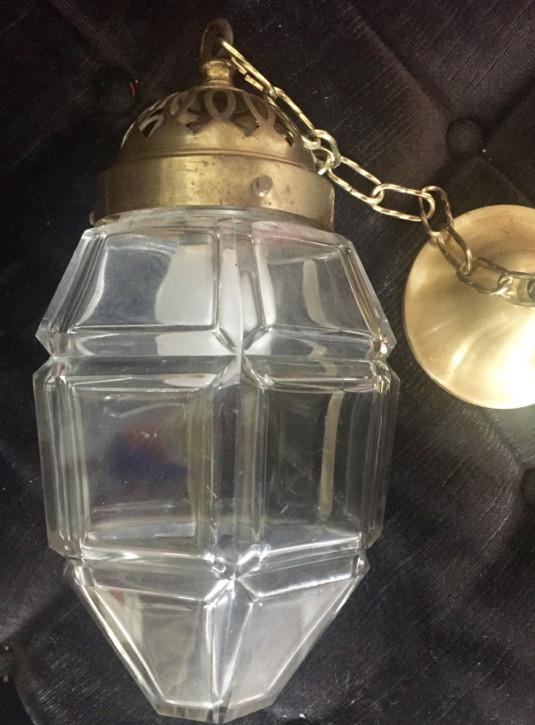 Original Antike Englische Edwardianische Glaslaterne ca. 1900