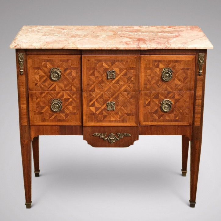 Französische Nussbaum & Kingwood Kommode antik Marmor 1860