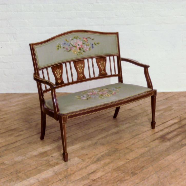 Original Antikes Englisches Edwardianisches Palisander Sofa ca. 1900