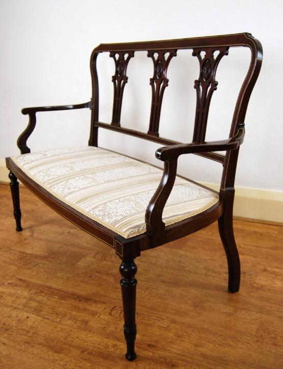 Wundervolles Antikes Englisches Edwardianisches Mahagoni Sofa ca. 1900