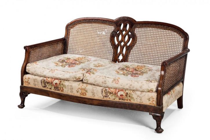 Schickes Antikes Englisches Mahagoni Bergere-Sofa ca. 1920