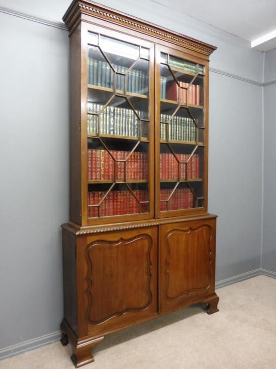 Edles Antikes Englisches Edwardianisches Mahagoni Bücherregal ca. 1910