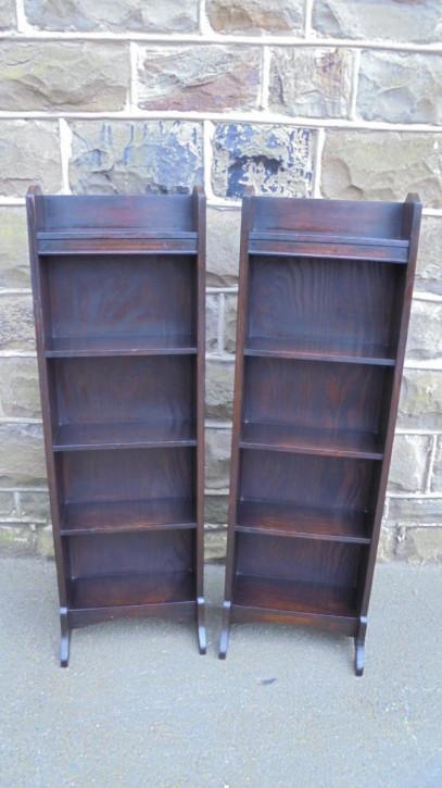Paar Antiker Original Englischer Eichen Bücherregale ca. 1910