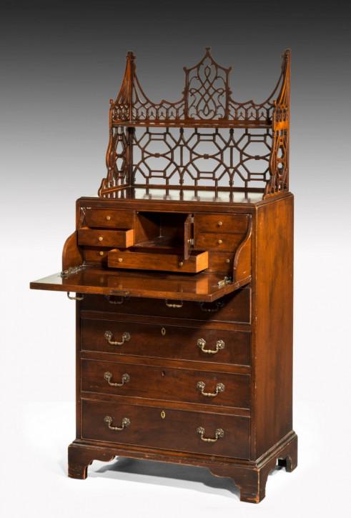 Englischer Antiker Chippendale Style Mahagoni Sekretär 1910