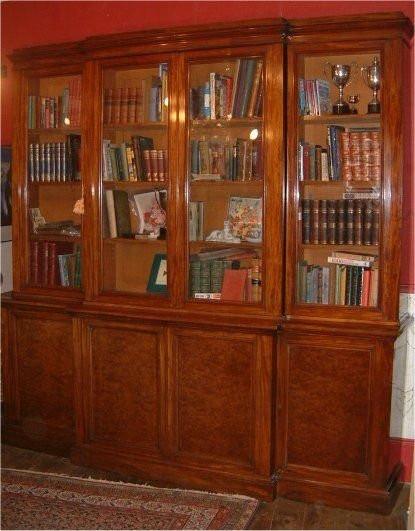 Antiker Breakfront Mahagoni Bücherschrank Edwards and Roberts 19. Jh