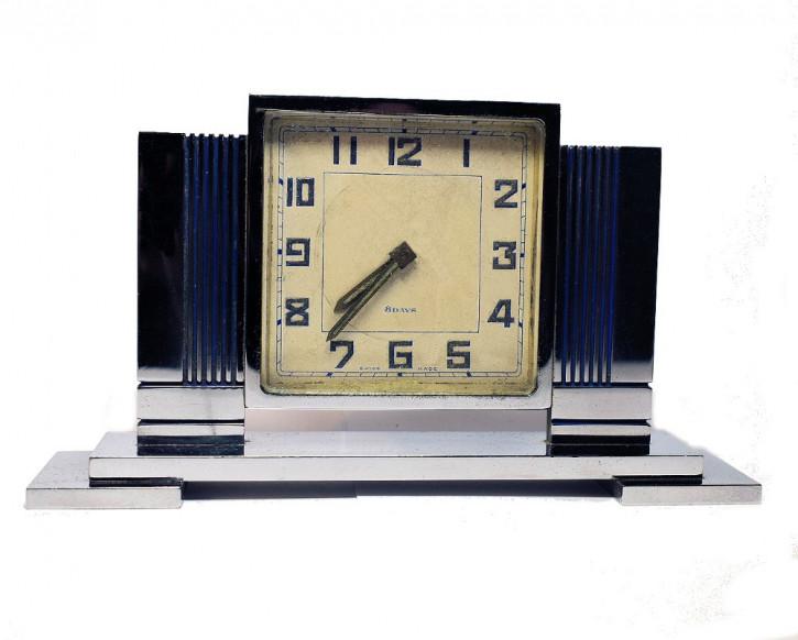 Stilvolle Englische Antike Chrom Art Deco Uhr ca. 1930